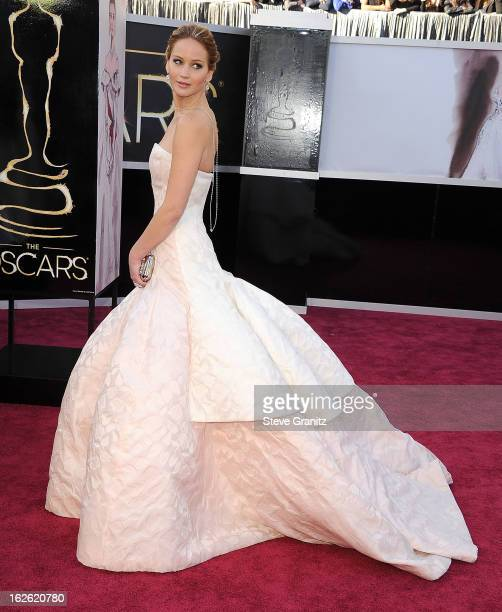 Jennifer Lawrence arrives at the 85th Annual Academy Awards at Dolby Theatre on February 24 2013 in Hollywood California
