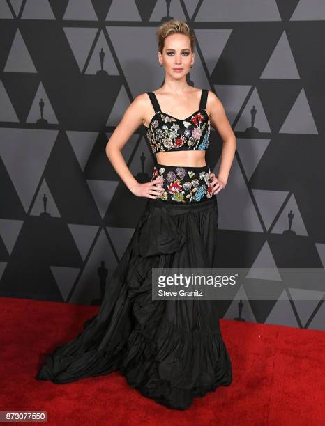 Jennifer Lawrence arrives at the Academy Of Motion Picture Arts And Sciences' 9th Annual Governors Awards at The Ray Dolby Ballroom at Hollywood...