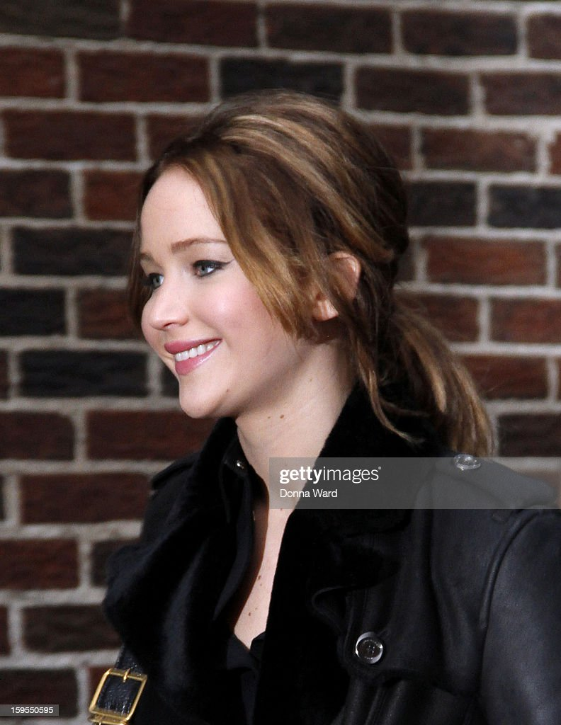 <a gi-track='captionPersonalityLinkClicked' href=/galleries/search?phrase=Jennifer+Lawrence&family=editorial&specificpeople=1596040 ng-click='$event.stopPropagation()'>Jennifer Lawrence</a> arrives for 'The Late Show with David Letterman' at Ed Sullivan Theater on January 15, 2013 in New York City.