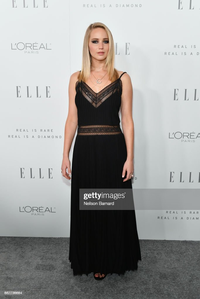 Jennifer Lawrence attends ELLE's 24th Annual Women in Hollywood Celebration presented by L'Oreal Paris, Real Is Rare, Real Is A Diamond and CALVIN KLEIN at Four Seasons Hotel Los Angeles at Beverly Hills on October 16, 2017 in Los Angeles, California.