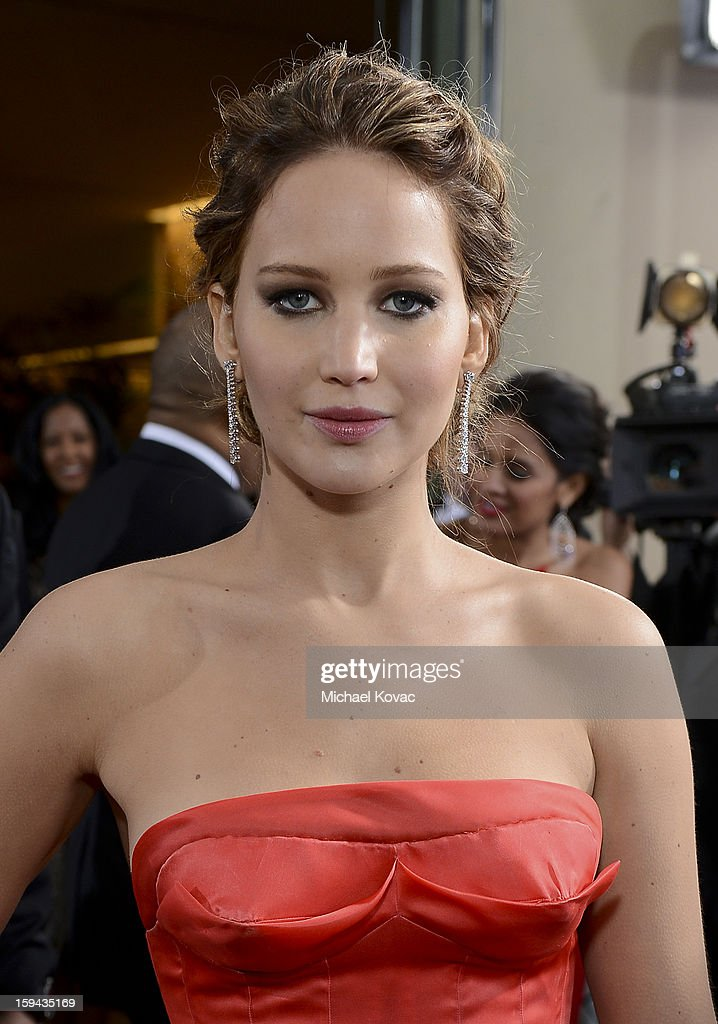 Jennifer Lawrence attends Moet & Chandon At The 70th Annual Golden Globe Awards Red Carpet at The Beverly Hilton Hotel on January 13, 2013 in Beverly Hills, California.