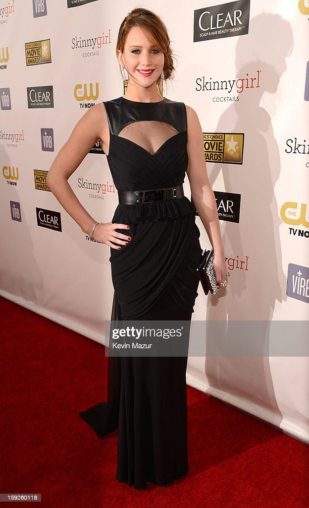 <a gi-track='captionPersonalityLinkClicked' href=/galleries/search?phrase=Jennifer+Lawrence&family=editorial&specificpeople=1596040 ng-click='$event.stopPropagation()'>Jennifer Lawrence</a> attends the 18th Annual Critics' Choice Movie Awards at The Barker Hanger on January 10, 2013 in Santa Monica, California.