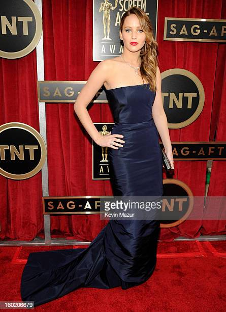 Jennifer Lawrence attends the 19th Annual Screen Actors Guild Awards at The Shrine Auditorium on January 27 2013 in Los Angeles California...