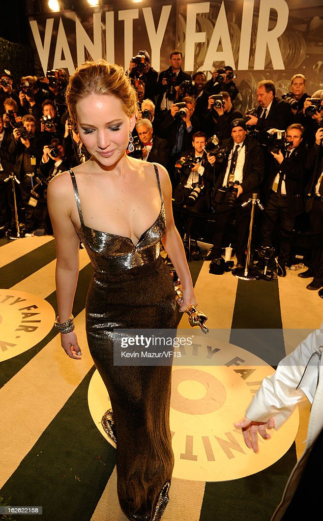 Jennifer Lawrence attends the 2013 Vanity Fair Oscar Party hosted by Graydon Carter at Sunset Tower on February 24, 2013 in West Hollywood, California.
