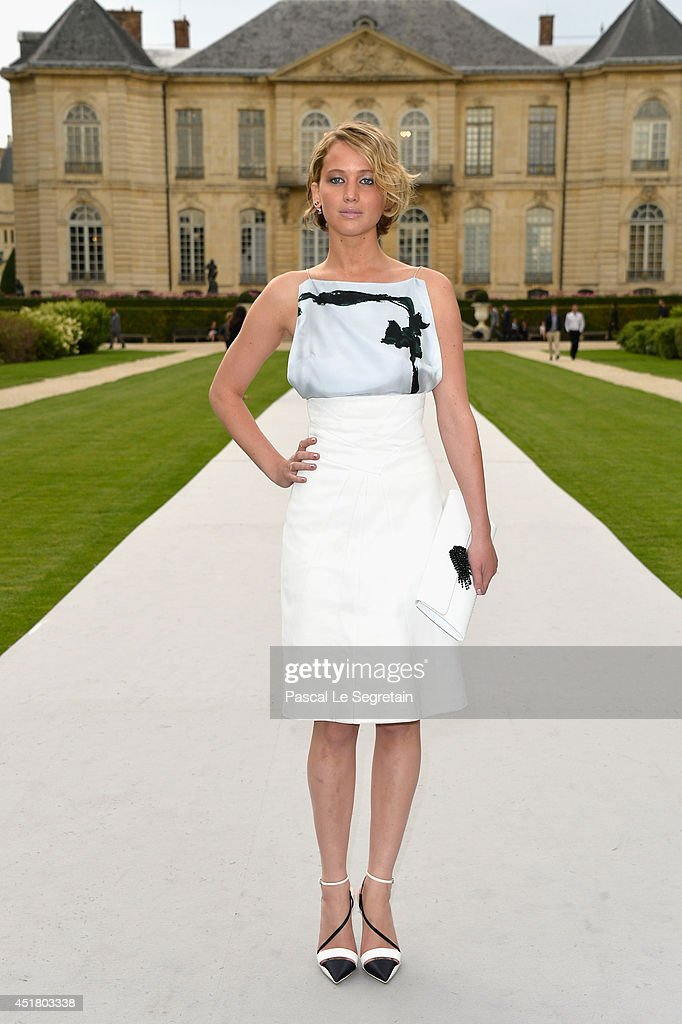 Jennifer Lawrence attends the Christian Dior show as part of Paris Fashion Week Haute Couture Fall/Winter 20142015 on July 7 2014 in Paris France