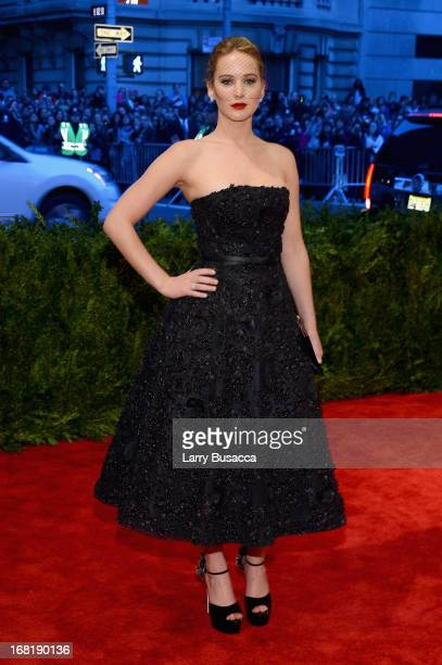 Jennifer Lawrence attends the Costume Institute Gala for the 'PUNK Chaos to Couture' exhibition at the Metropolitan Museum of Art on May 6 2013 in...