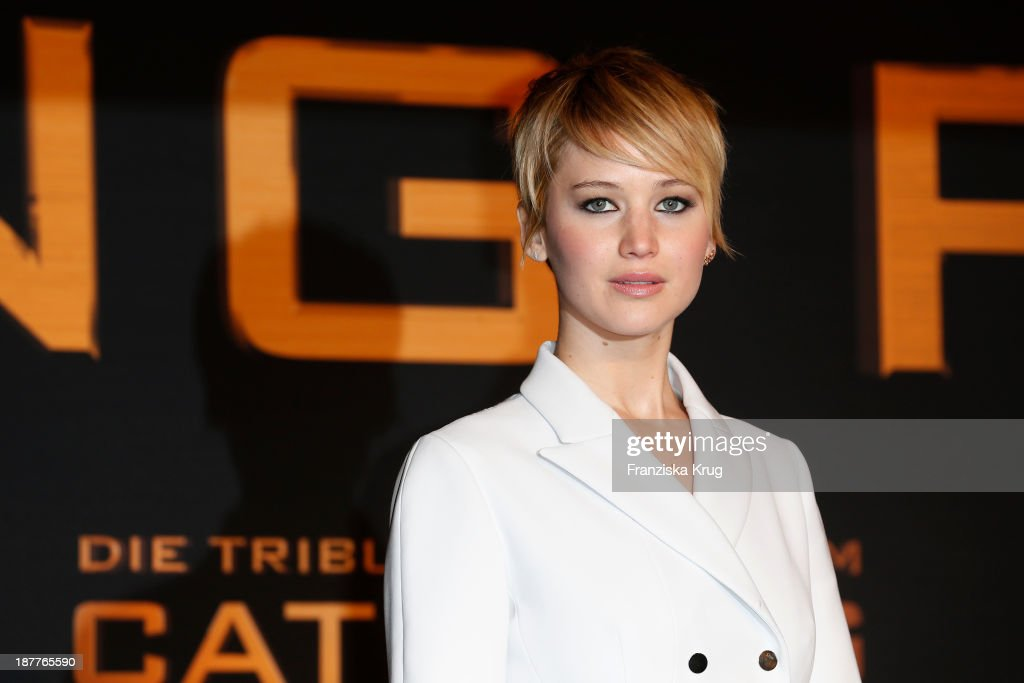 <a gi-track='captionPersonalityLinkClicked' href=/galleries/search?phrase=Jennifer+Lawrence&family=editorial&specificpeople=1596040 ng-click='$event.stopPropagation()'>Jennifer Lawrence</a> attends the German premiere of the film 'The Hunger Games - Catching Fire' (Tribute von Panem - Catching Fire) at Sony Centre on November 12, 2013 in Berlin, Germany.