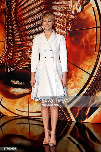 Jennifer Lawrence attends the German premiere of the film 'The Hunger Games Catching Fire' at Sony Centre on November 12 2013 in Berlin Germany