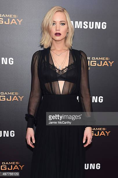 Jennifer Lawrence attends 'The Hunger Games Mockingjay Part 2' New York Premiere at AMC Loews Lincoln Square 13 theater on November 18 2015 in New...