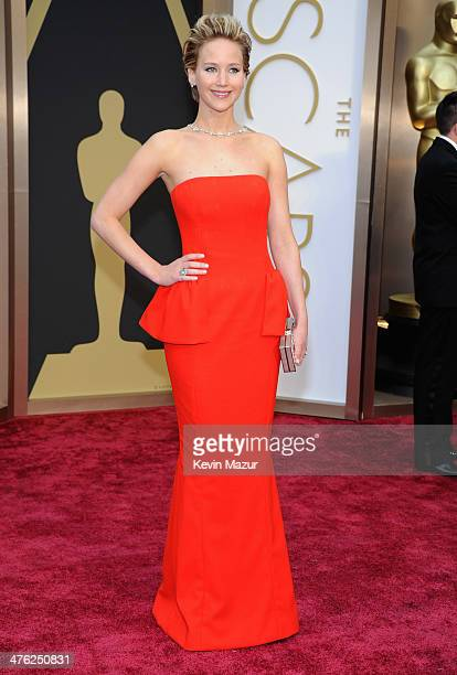 Jennifer Lawrence attends the Oscars held at Hollywood Highland Center on March 2 2014 in Hollywood California