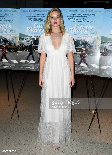 Jennifer Lawrence attends the premiere of Cohen Media Group's 'Faces Places' at Pacific Design Center on October 11 2017 in West Hollywood California