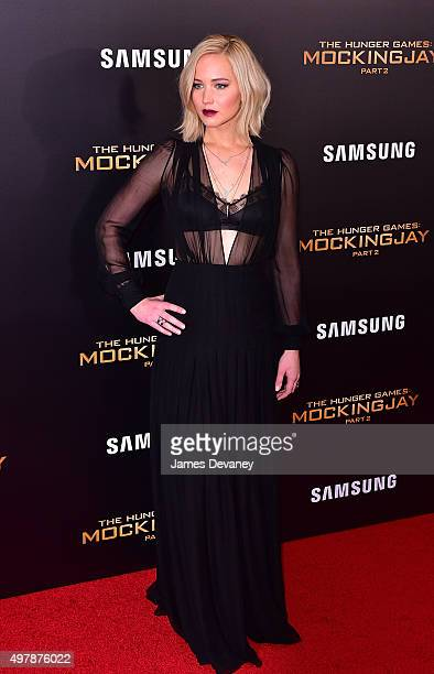 Jennifer Lawrence attends the 'The Hunger Games Mockingjay Part 2' New York premiere at AMC Loews Lincoln Square 13 theater on November 18 2015 in...