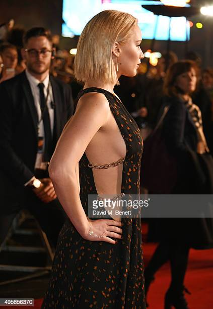 Jennifer Lawrence attends the UK Premiere of 'The Hunger Games Mockingjay Part 2' at Odeon Leicester Square on November 5 2015 in London England
