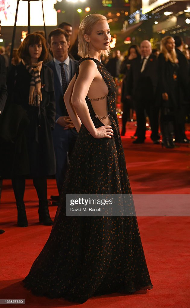 Jennifer Lawrence attends the UK Premiere of 'The Hunger Games: Mockingjay Part 2' at Odeon Leicester Square on November 5, 2015 in London, England.