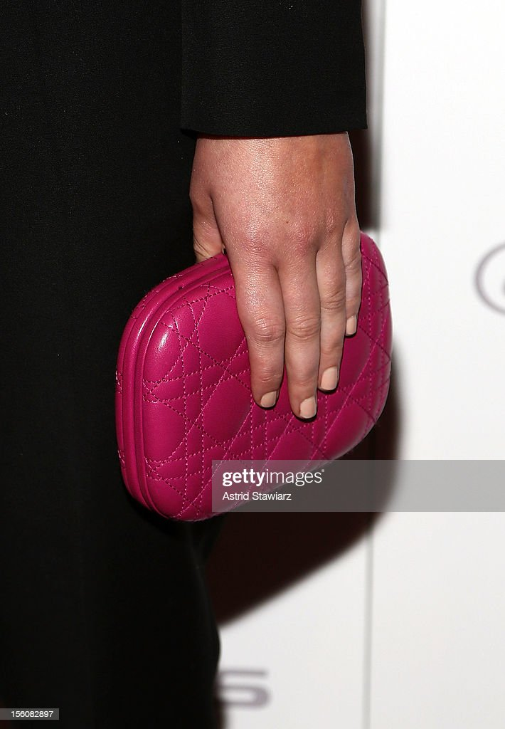 Jennifer Lawrence clutch and nails detail are seen during the 'Silver Linings Playbook' New York Premiere at Florence Gould Hall on November 11, 2012 in New York City.