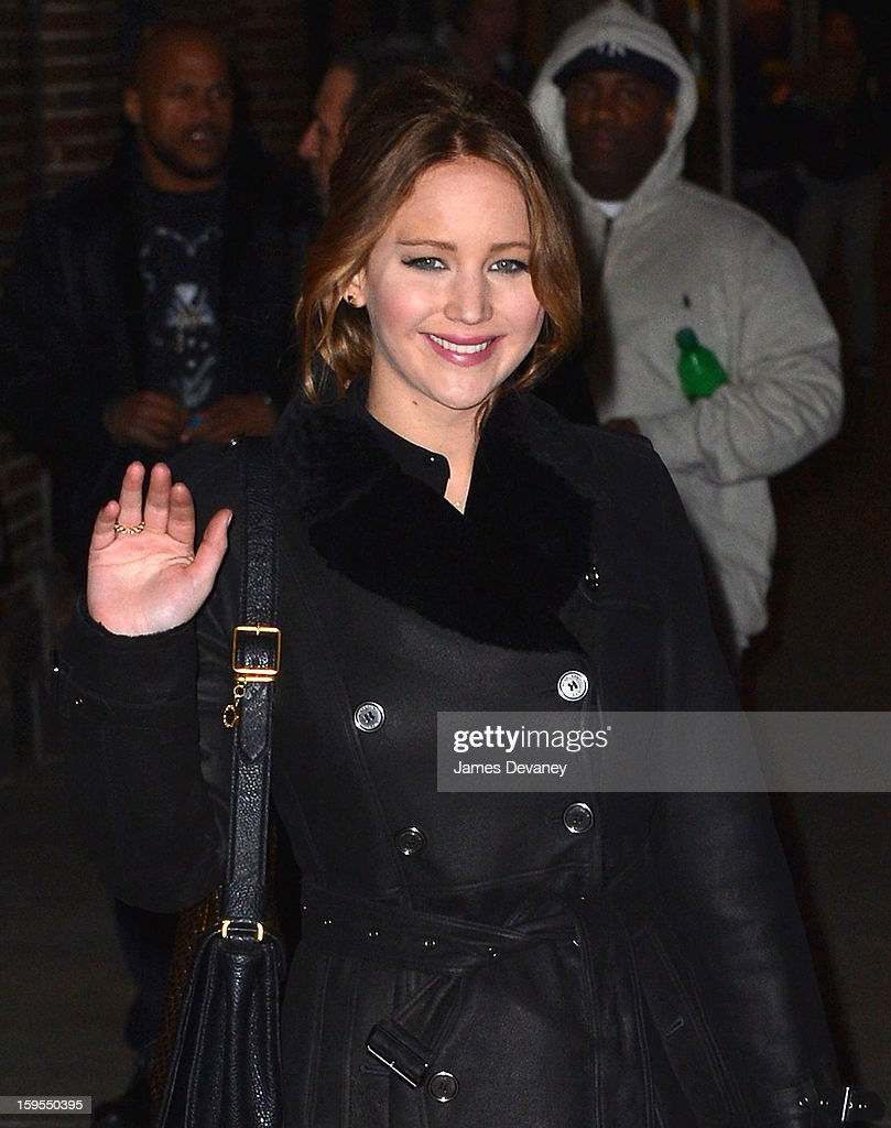 <a gi-track='captionPersonalityLinkClicked' href=/galleries/search?phrase=Jennifer+Lawrence&family=editorial&specificpeople=1596040 ng-click='$event.stopPropagation()'>Jennifer Lawrence</a> departs 'Late Show with David Letterman' at Ed Sullivan Theater on January 15, 2013 in New York City.