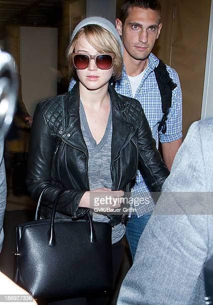 Jennifer Lawrence is seen arriving at LAX airport on November 04 2013 in Los Angeles California
