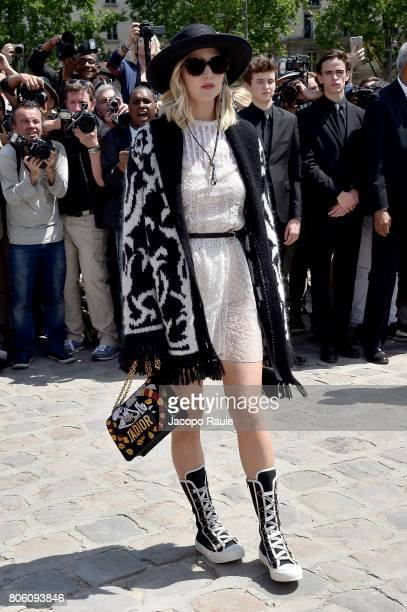 Jennifer Lawrence is seen arriving at the 'Christian Dior' show during Paris Fashion Week Haute Couture Fall/Winter 20172018 on July 3 2017 in Paris...