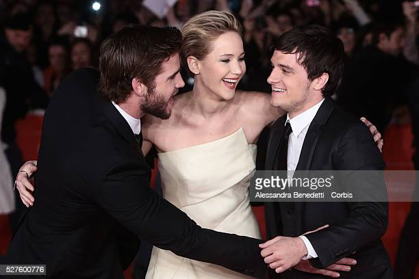 Jennifer Lawrence Liam Hemsworth Josh Hutcherson and Francis Lawrence attend the premiere of movie 'The Hunger Games Catching Fire' during the 8th...