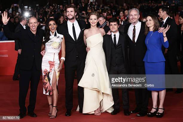 Jennifer Lawrence Liam Hemsworth Josh Hutcherson Meta Goldin and Francis Lawrence attend the premiere of movie 'The Hunger Games Catching Fire'...