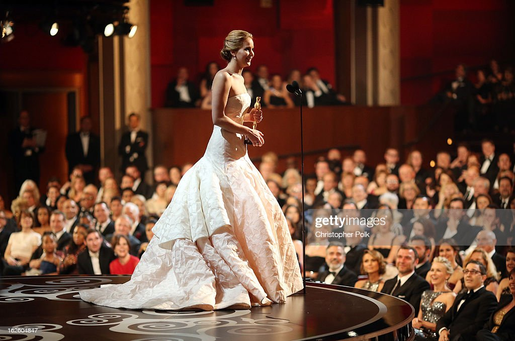 <a gi-track='captionPersonalityLinkClicked' href=/galleries/search?phrase=Jennifer+Lawrence&family=editorial&specificpeople=1596040 ng-click='$event.stopPropagation()'>Jennifer Lawrence</a> onstage after winning the award for Actress in a Leading Role during the Oscars held at the Dolby Theatre on February 24, 2013 in Hollywood, California.