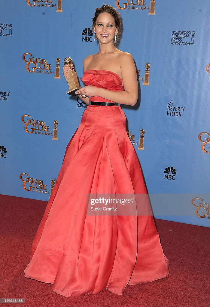 Jennifer Lawrence poses at the 70th Annual Golden Globe Awards at The Beverly Hilton Hotel on January 13, 2013 in Beverly Hills, California.
