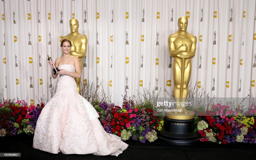 Jennifer Lawrence poses in the press room at the 85th Annual Academy Awards at Hollywood & Highland Center on February 24, 2013 in Hollywood, California.