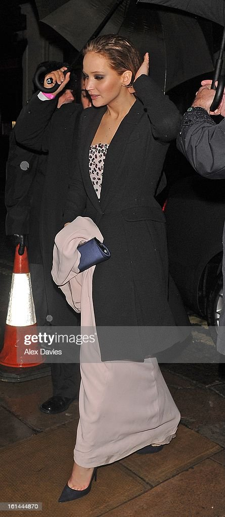 <a gi-track='captionPersonalityLinkClicked' href=/galleries/search?phrase=Jennifer+Lawrence&family=editorial&specificpeople=1596040 ng-click='$event.stopPropagation()'>Jennifer Lawrence</a> sighting as she leaves lulu's private members club in mayfair after bafta party on February 10, 2013 in London, England.
