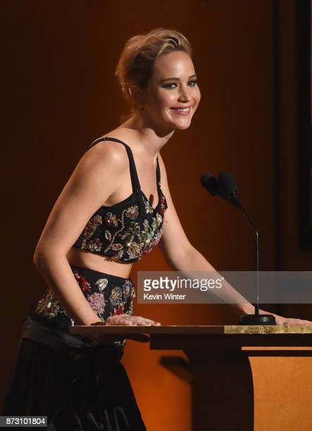 Jennifer Lawrence speaks onstage at the Academy of Motion Picture Arts and Sciences' 9th Annual Governors Awards at The Ray Dolby Ballroom at...