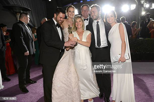Jennifer Lawrence winner of Best Actress for her role in 'Silver Linings Playbook' with her parents Karen Lawrence and Gary Lawrence and brothers Ben...