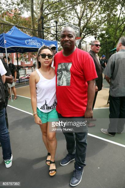 Jennifer Le and DJ Mister Cee attend the ribbon cutting ceremony at Crispus Attucks Playground on August 2 2017 in the Brooklyn borough of New York...