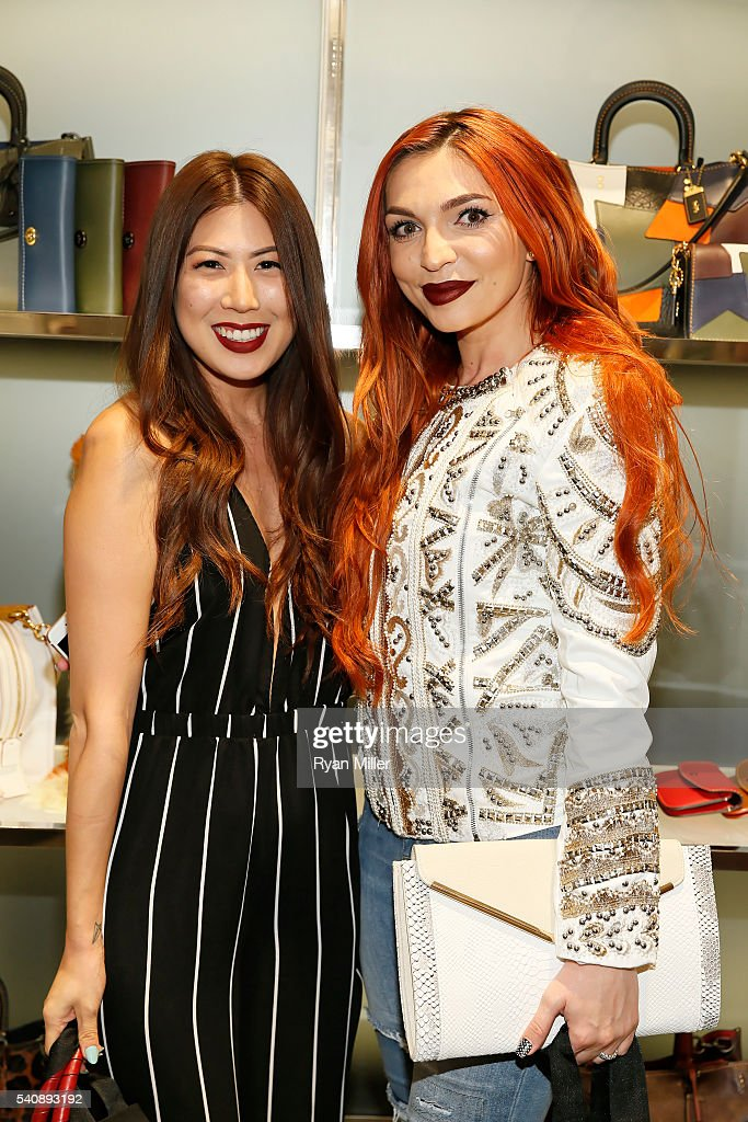 Jennifer Lee and Alexandra Potora pose as Chrissy Teigen Celebrates COACH's PreFall 2016 Collection at the Coach South Coast Plaza boutique on June...