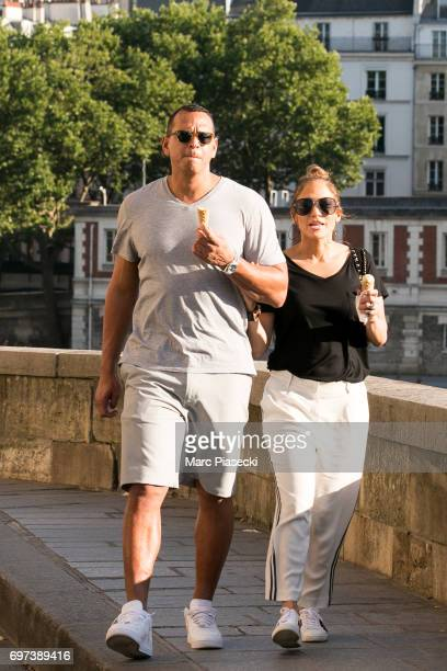 Jennifer Lopez and Alex Rodriguez are sighted on the 'Ile Saint Louis' near NotreDameDeParis cathedral on June 18 2017 in Paris France
