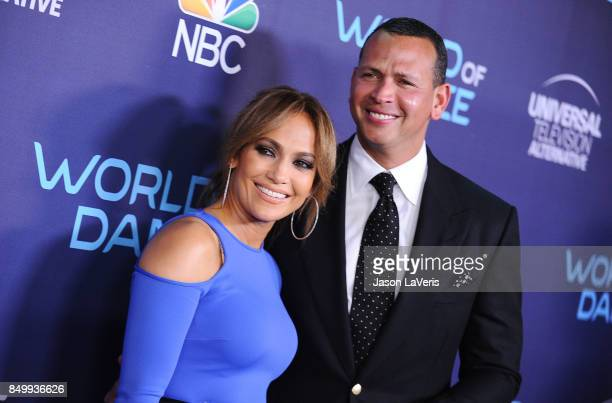 Jennifer Lopez and Alex Rodriguez attend NBC's 'World of Dance' celebration at Delilah on September 19 2017 in West Hollywood California