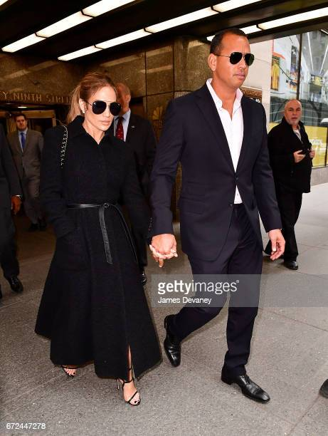 Jennifer Lopez and Alex Rodriguez leave Rockefeller Center on April 24 2017 in New York City