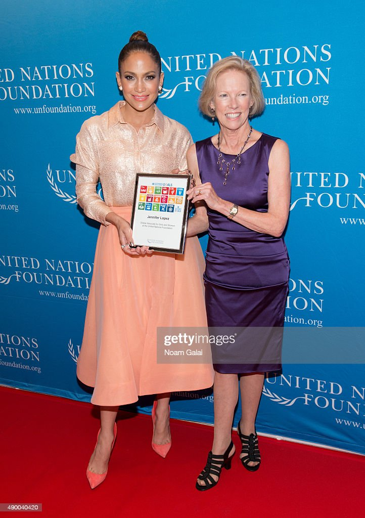 Jennifer Lopez and and president and CEO of UN Foundation Kathy Calvin attend UN Foundation's gender equality discussion at The Four Seasons Restaurant on September 25, 2015 in New York City.