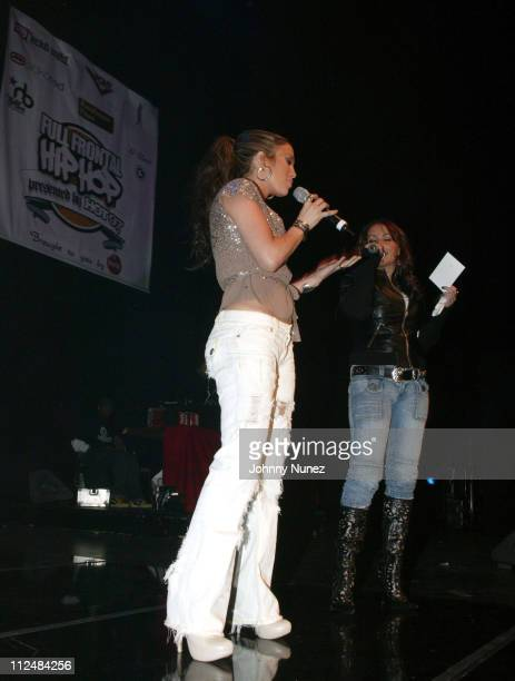 Jennifer Lopez and Angie Martinez during Full Frontal Hip Hop Presented by Hot 97 at Hammerstein Ballroom in New York City New York United States