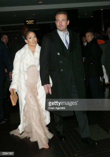 Jennifer Lopez and Ben Affleck arriving at the 'Maid In Manhattan' world premiere afterparty at The Rainbow Room in New York City December 8 2002...