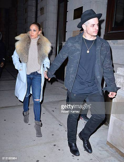 Jennifer Lopez and boyfriend Casper Smart go out to dinner together after leaving Watch What Happens Live with Andy Cohan on February 29 2016 in New...