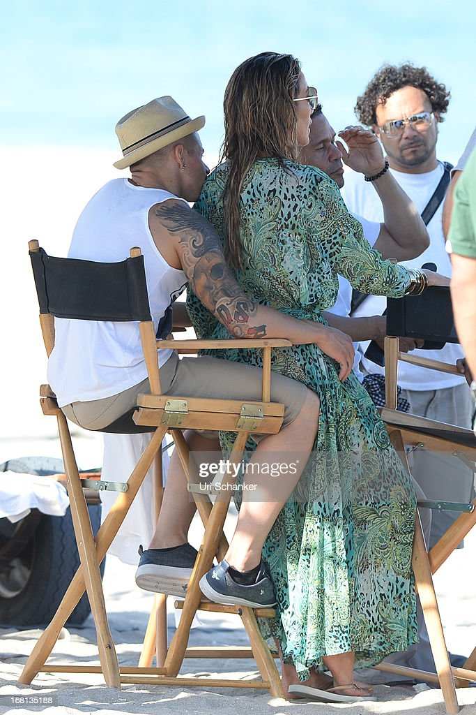 Jennifer Lopez and Casper Smart are sighted as they film a commercial on the beach on May 5, 2013 in Fort Lauderdale, Florida.