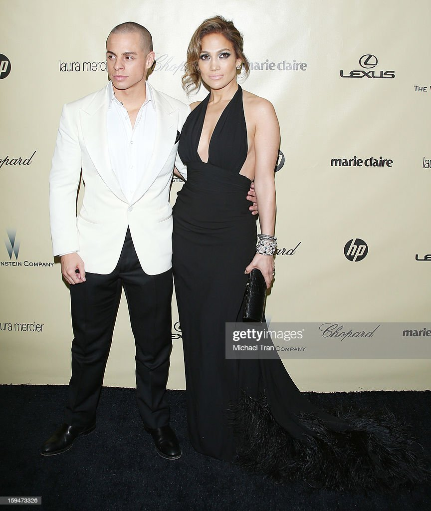 Jennifer Lopez (R) and Casper Smart arrive at The Weinstein Company's 2013 Golden Globes after party held at The Beverly Hilton Hotel on January 13, 2013 in Beverly Hills, California.