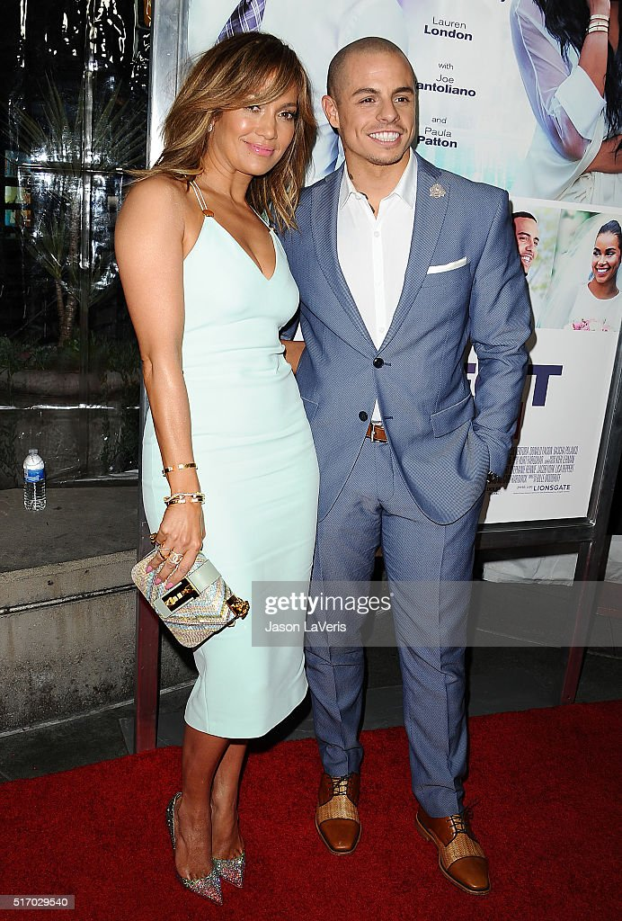 Jennifer Lopez and Casper Smart attend the premiere of 'The Perfect Match' at ArcLight Hollywood on March 7, 2016 in Hollywood, California.