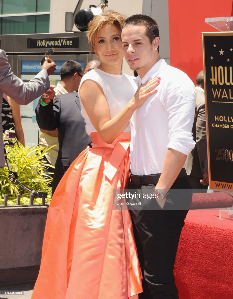 Jennifer Lopez and Casper Smart pose at Jennifer Lopez Honored With Star On The Hollywood Walk Of Fame on June 20 2013 in Hollywood California