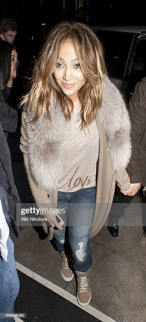 <a gi-track='captionPersonalityLinkClicked' href=/galleries/search?phrase=Jennifer+Lopez&family=editorial&specificpeople=201784 ng-click='$event.stopPropagation()'>Jennifer Lopez</a> and Casper Smart sighting at the Dorchester Hotel, Park Lane on May 28, 2013 in London, England.