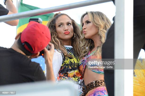 Jennifer Lopez and Claudia Leitte are seen in Fort Lauderdale as they film a music video for the song 'We Are One' which will be the theme for the...