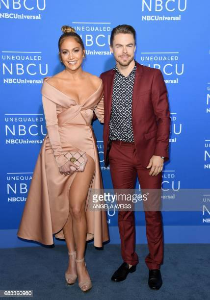 Jennifer Lopez and Derek Hough attend the NBCUniversal 2017 Upfront on May 15 2017 in New York City / AFP PHOTO / ANGELA WEISS