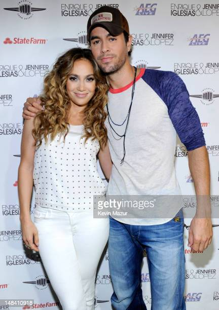 Jennifer Lopez and Enrique Iglesias backstage before their coheadlining tour at Bell Centre on July 15 2012 in Montreal Canada