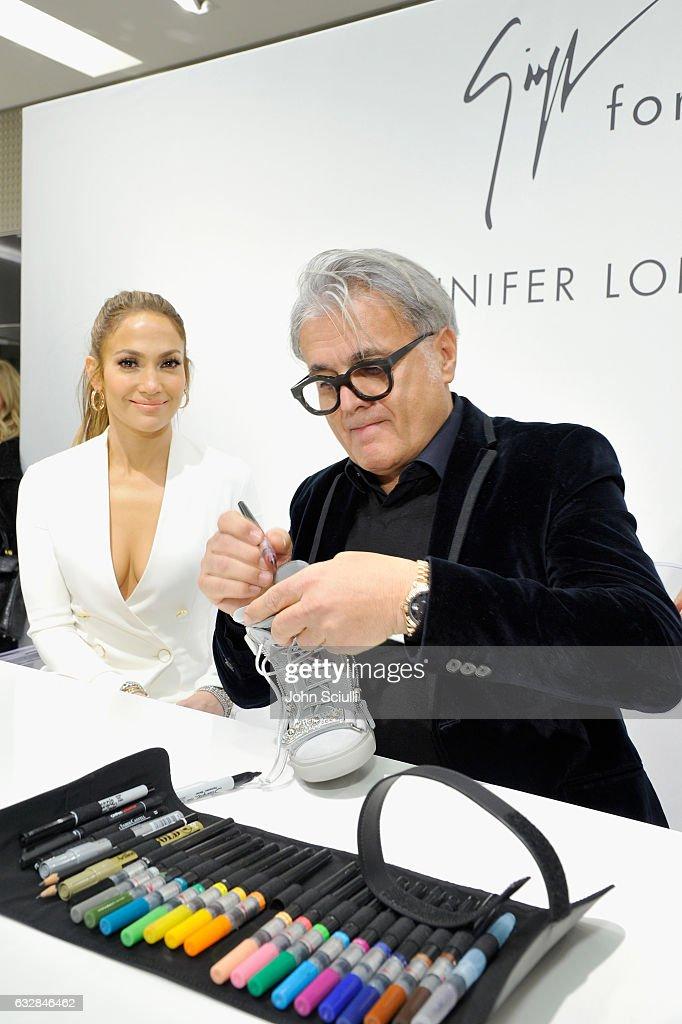Jennifer Lopez (L) and Giuseppe Zanotti attend the Giuseppe for Jennifer Lopez Launch at Neiman Marcus Beverly Hills on January 26, 2017 in Beverly Hills, California.
