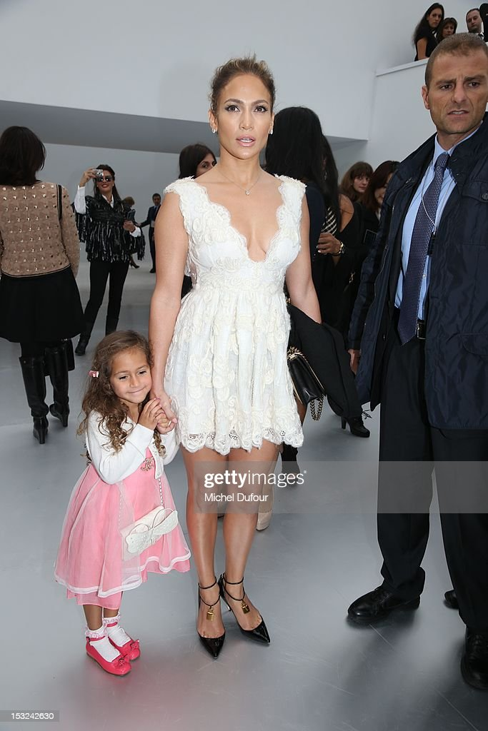<a gi-track='captionPersonalityLinkClicked' href=/galleries/search?phrase=Jennifer+Lopez&family=editorial&specificpeople=201784 ng-click='$event.stopPropagation()'>Jennifer Lopez</a> and her daughter Emme Maribel Muniz attend the Chanel Spring / Summer 2013 show as part of Paris Fashion Week at Grand Palais on October 2, 2012 in Paris, France.