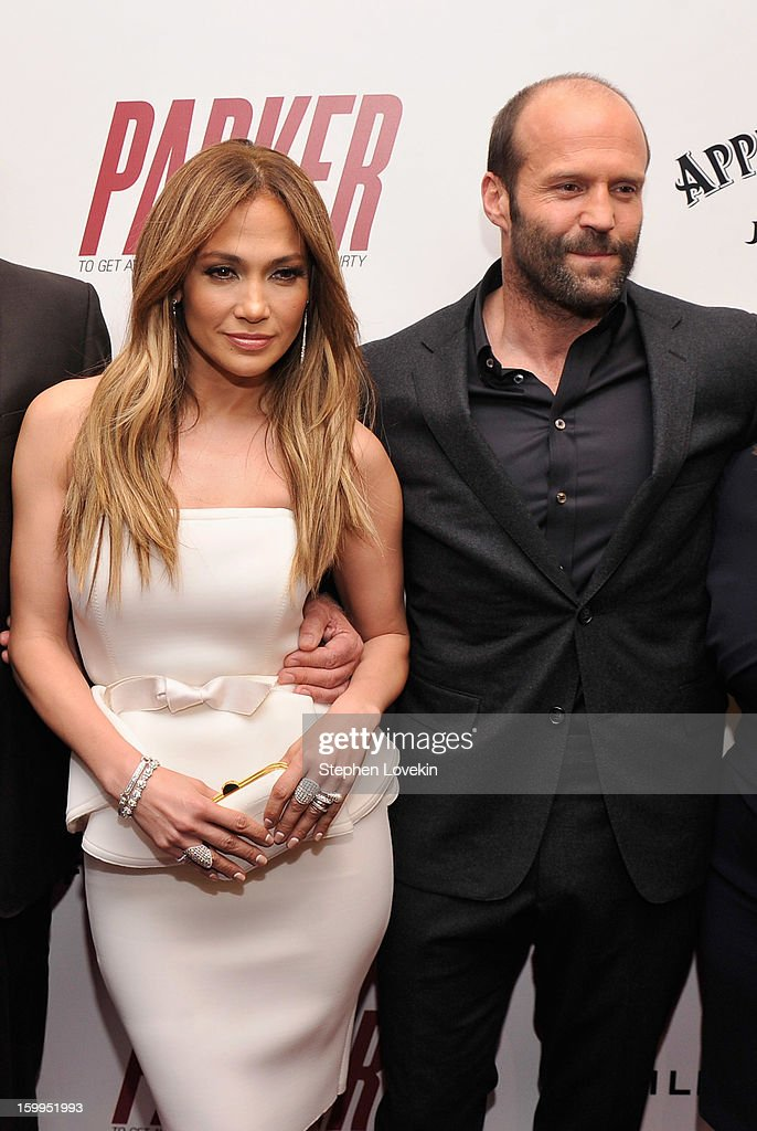 Jennifer Lopez and Jason Statham attend a screening of 'Parker' hosted by FilmDistrict, The Cinema Society, L'Oreal Paris and Appleton Estate at MOMA on January 23, 2013 in New York City.
